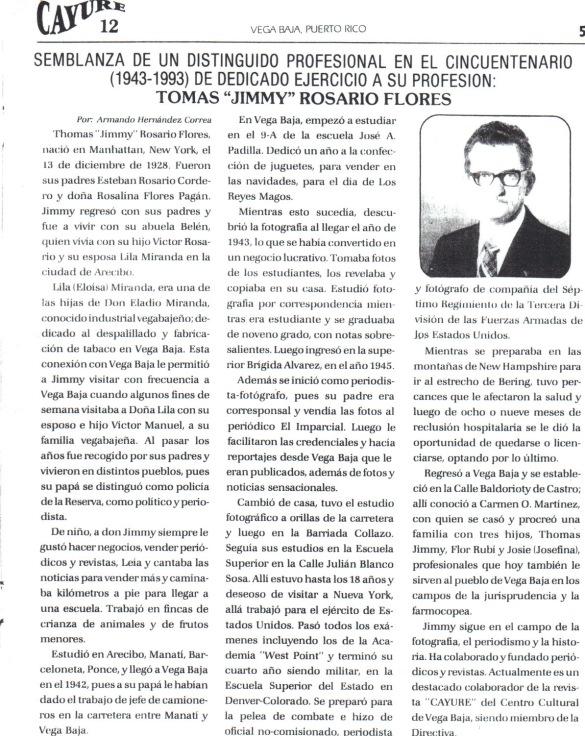 TJRF 1993 CAYURE THOMAS JIMMY ROSARIO FLORES SEMBLANZA Y POEMAS