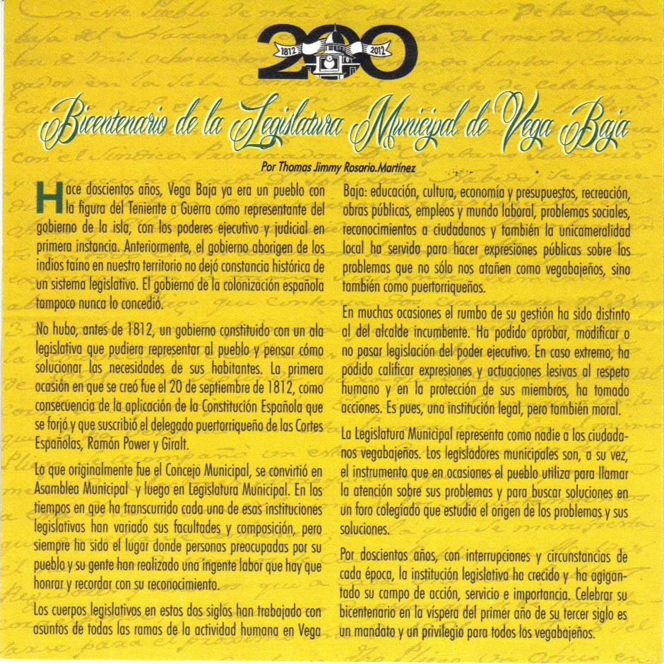 FOLIO PROGRAMA OFICIAL CELEBRACION BICENTENARIO LEGISLATURA MUNICIPAL