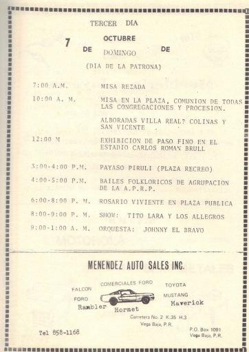 PROGRAMA FIESTAS PATRONALES 197322