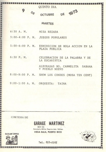 PROGRAMA FIESTAS PATRONALES 197324