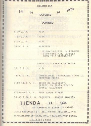 PROGRAMA FIESTAS PATRONALES 197329