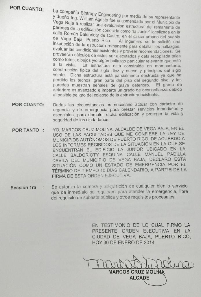 ORDEN EJECUTIVA PARA DEMOLER LA JUNIOR 2
