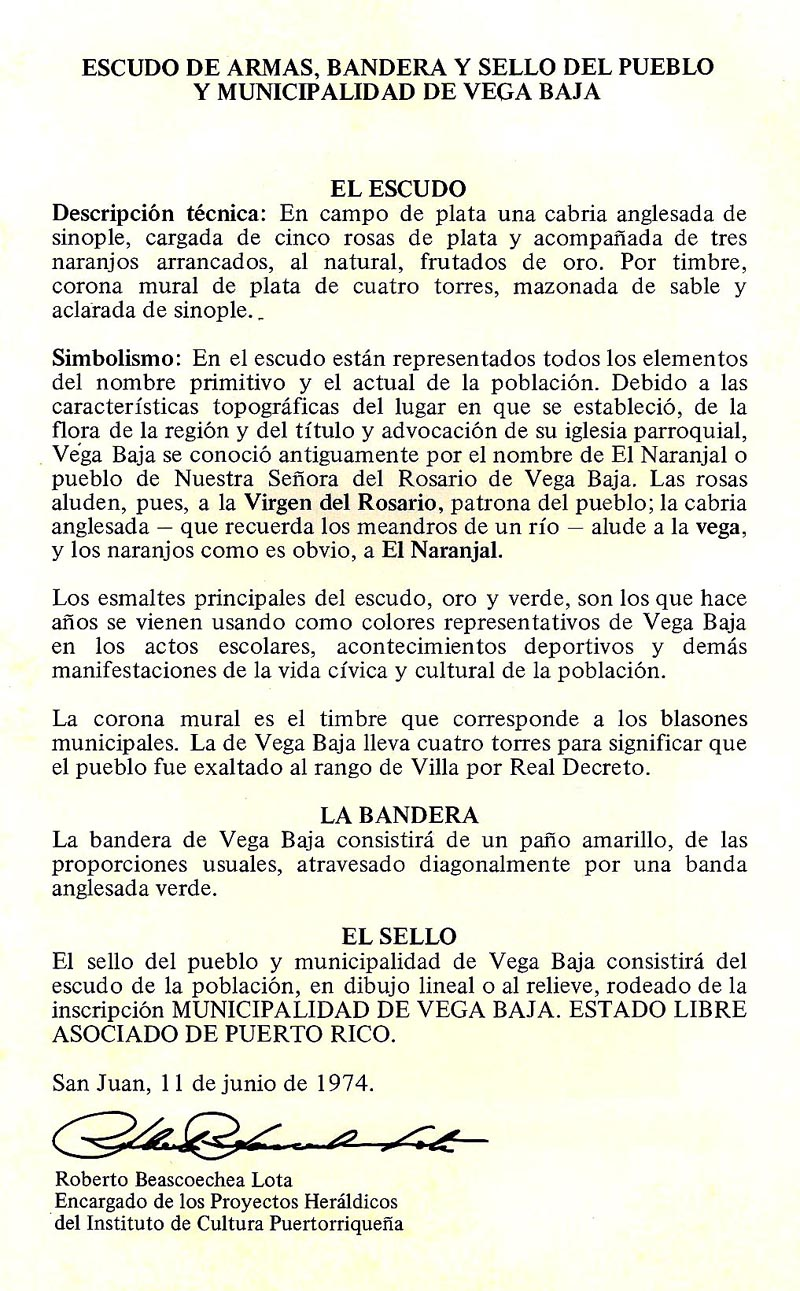 080-0 Descripción Símbolos Escudo, Bandera y Sello de Vega Baja