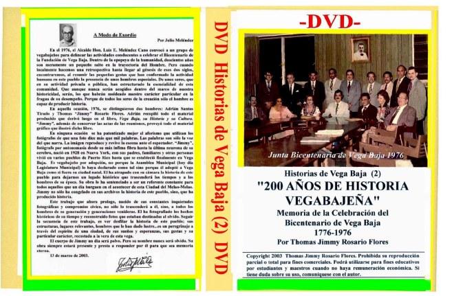 001-0   Carátula DVD 7x10  Vol 2  Bicentenario  1976 Vega Baja