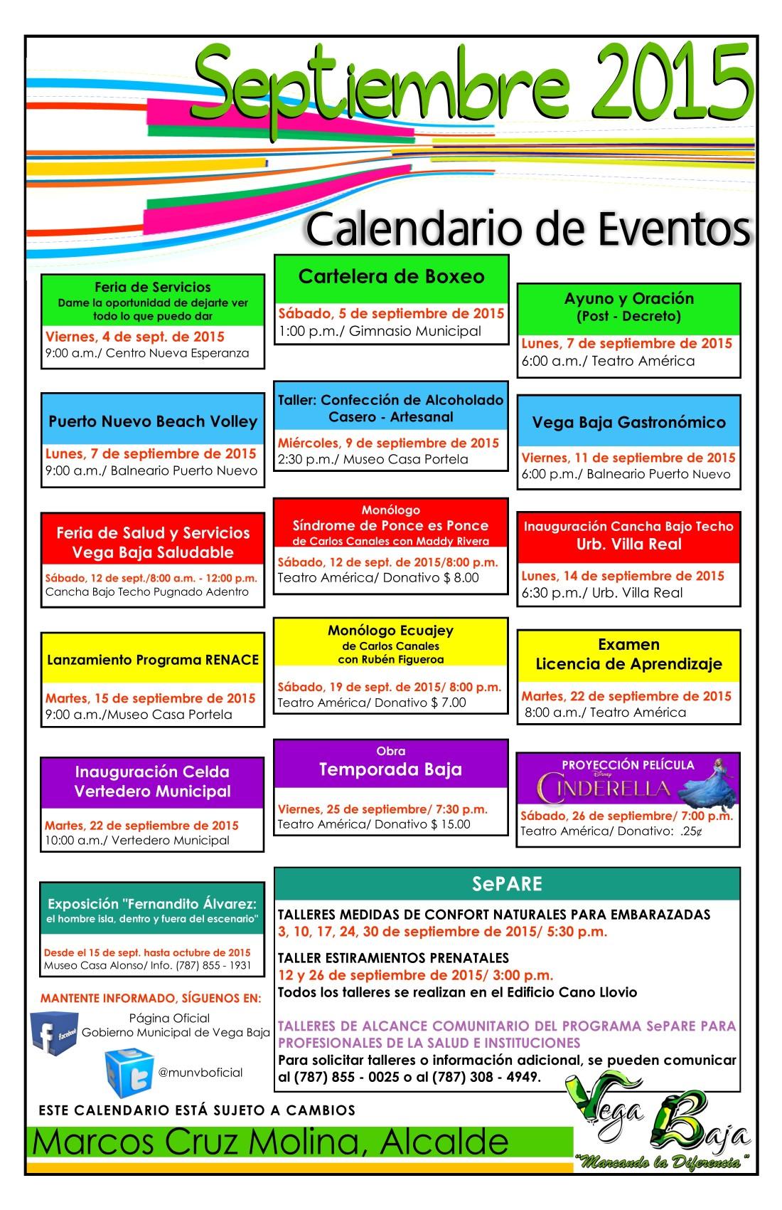 Calendario de Actividades SEPTIEMBRE  2015-1