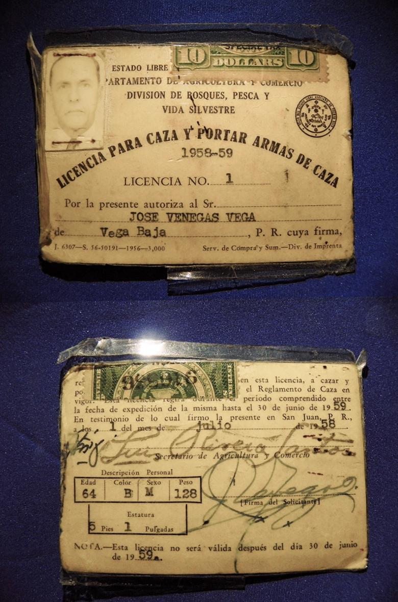 La licencia número uno de caza en Puerto Rico era de un vegabajeño ...
