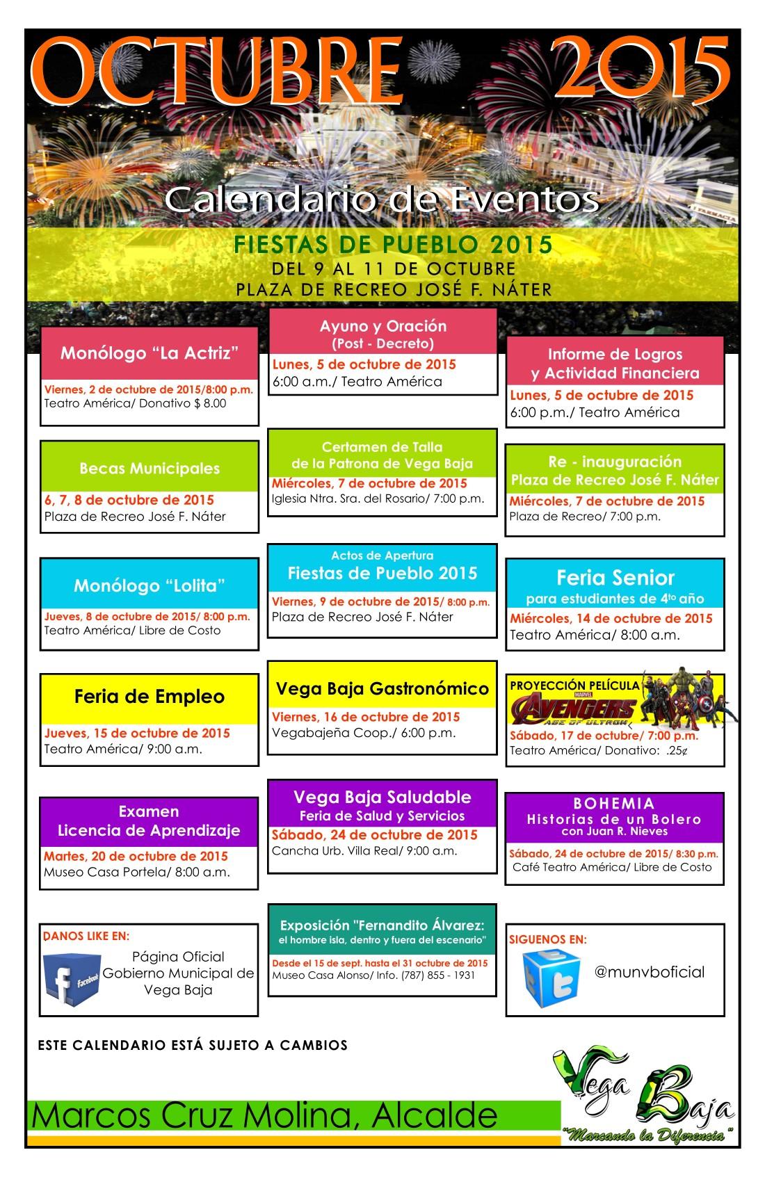 Calendario de Actividades  OCTUBRE 2015