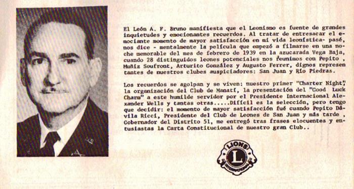 Fotografía Ilustre R F Bruno Primer Presidente Club de Leones de Vega Baja 1938