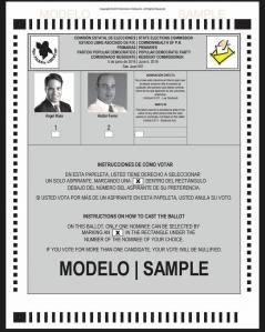 ELECCIONES 2016 PAPELETA PRIMARIAS COMISIONADO RESIDENTE