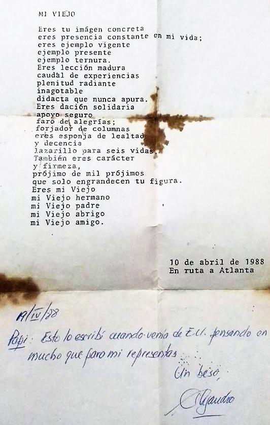 CARTA DE ALEJANDRO TORRES A SU PADRE